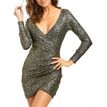 Plunging Neckline Ruched Mini Bodycon Dress - GOLDEN GOLDEN