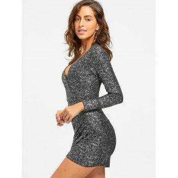 Plunging Neckline Ruched Mini Bodycon Dress - SILVER M