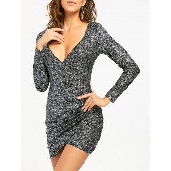Plunging Neckline Ruched Mini Bodycon Dress - SILVER SILVER