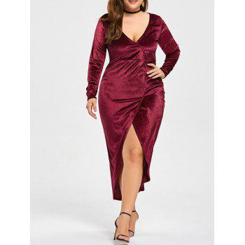 Plus Size High Low Velvet Midi Bodycon Dress by Dress Lily