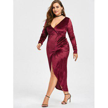 Plus Size High Low Velvet Midi Bodycon Dress - RED 3XL