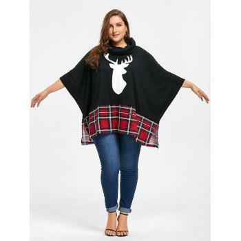 Plus Size Christmas Reindeer Print Sweatshirt - BLACK 2XL