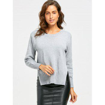Side Slit High Low Crew Neck Sweater - GRAY GRAY