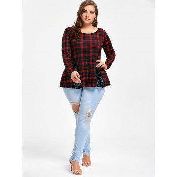 Plus Size Lace Panel Criss Cross Long Sleeve Plaid T-shirt - CHECKED XL