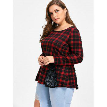 Plus Size Lace Panel Criss Cross Long Sleeve Plaid T-shirt - CHECKED 2XL