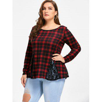 Plus Size Lace Panel Criss Cross Long Sleeve Plaid T-shirt - CHECKED 3XL