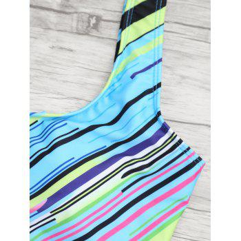 Open Back Striped One Piece Swimsuit - COLORMIX M