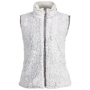 Stand Collar Zip Fly Shearling Waistcoat - LIGHT GRAY L