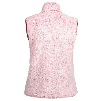 Stand Collar Zip Fly Shearling Waistcoat - PINK 2XL
