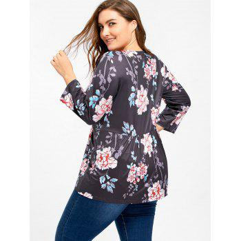 Lace Up Floral Print Plus Size Tee - BLACK 5XL