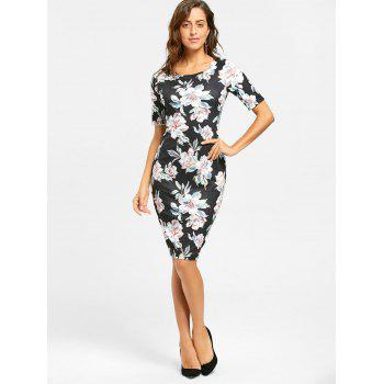 Floral Print Sheath Knee Length Dress - BLACK BLACK