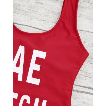 Letter Print Backless One Piece Swimsuit - RED RED