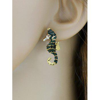 Alloy Sea Horse Stud Earrings - GOLDEN