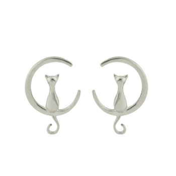 Moon Cat Design Alloy Earrings - SILVER