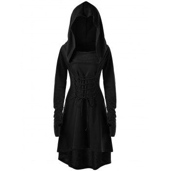 Lace Up Hooded High Low Dress - BLACK BLACK