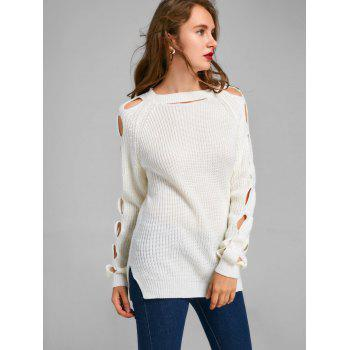 Cutout Side Slit Sweater - WHITE L
