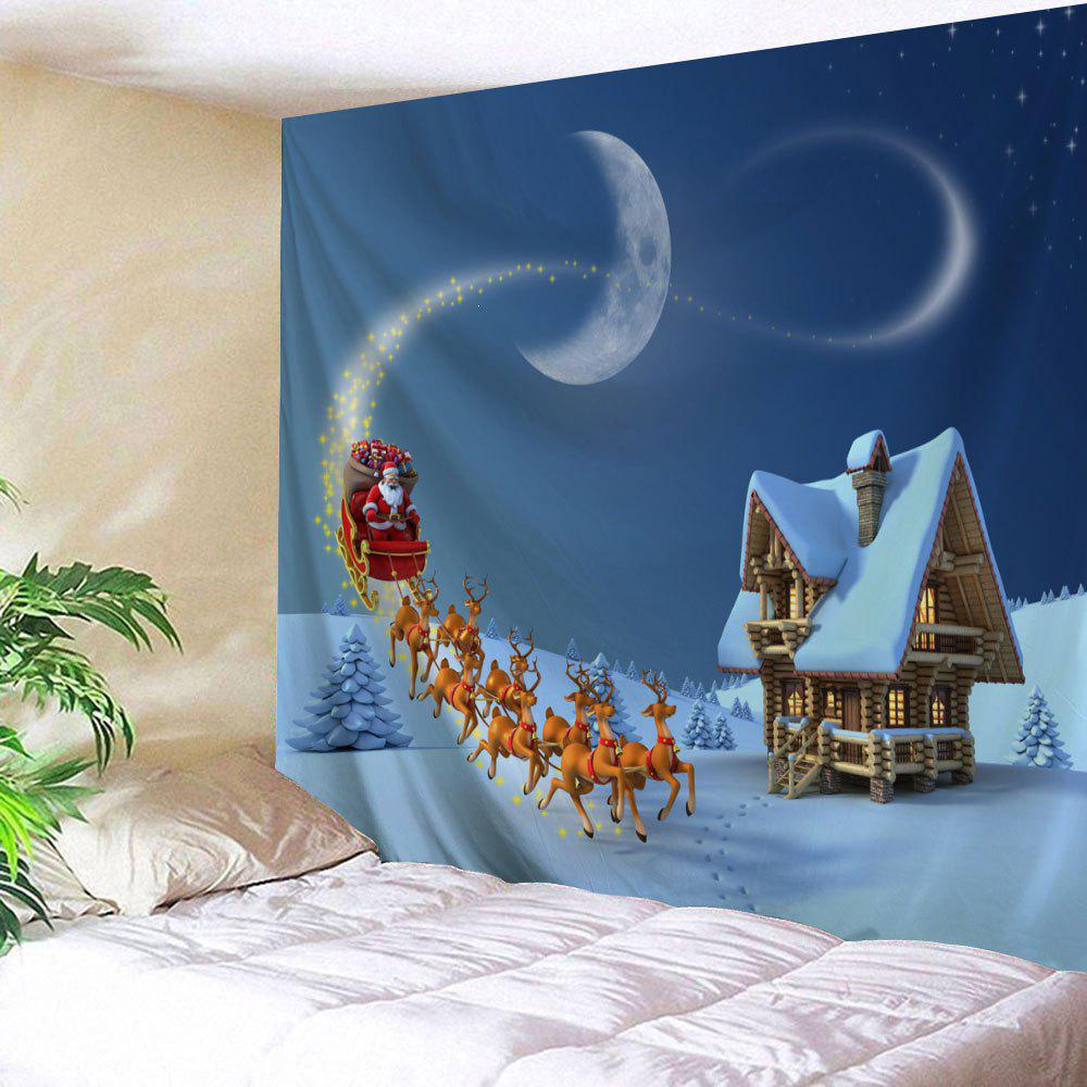 Christmas Sled Cottage Printed Wall Tapestry - BLUE W79 INCH * L59 INCH