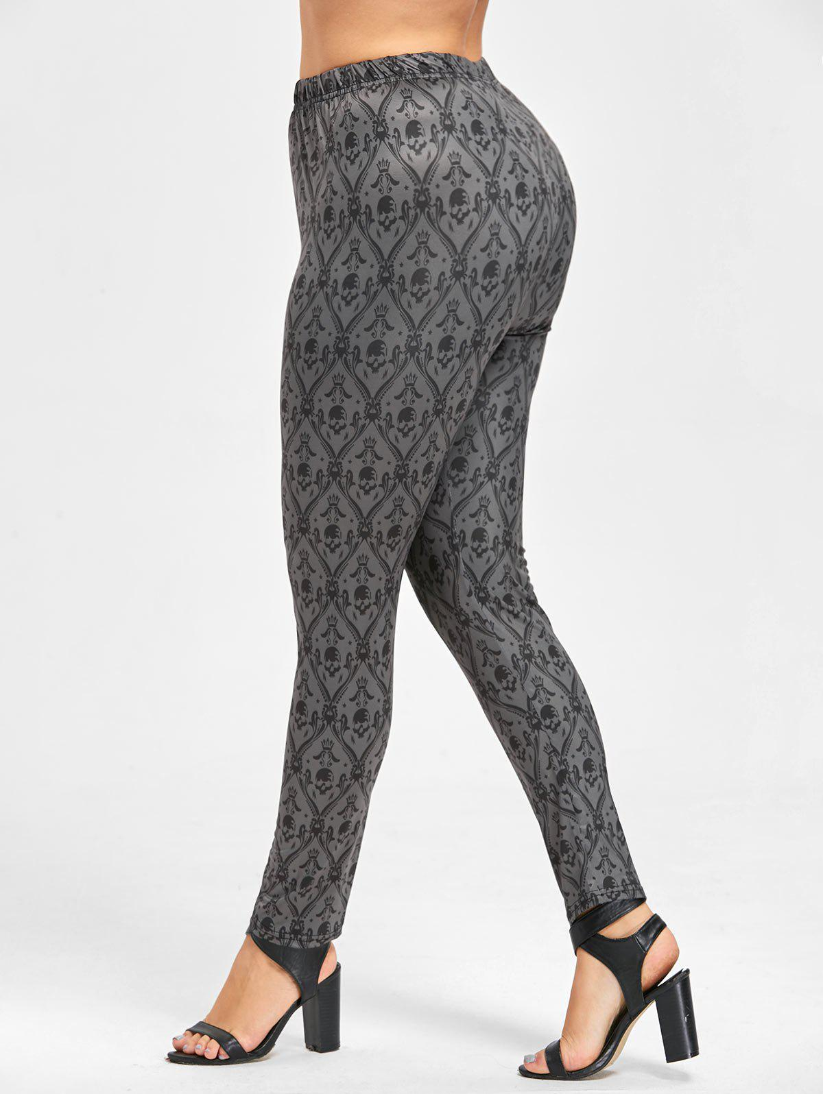 Plus Size Halloween Skull Print Leggings - DARK GRAY 3XL