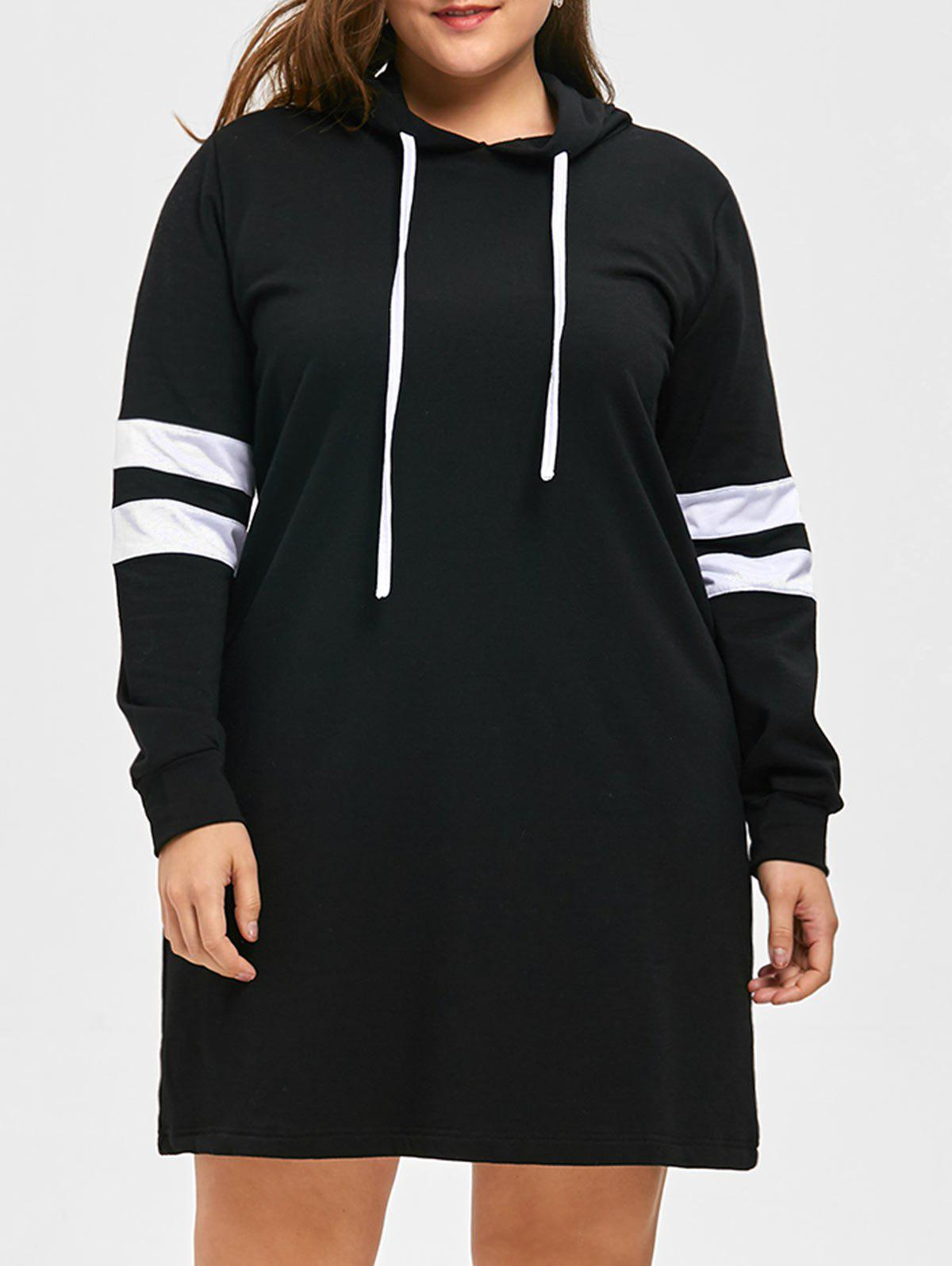 Plus Size Striped Longline Hoodie - BLACK 5XL