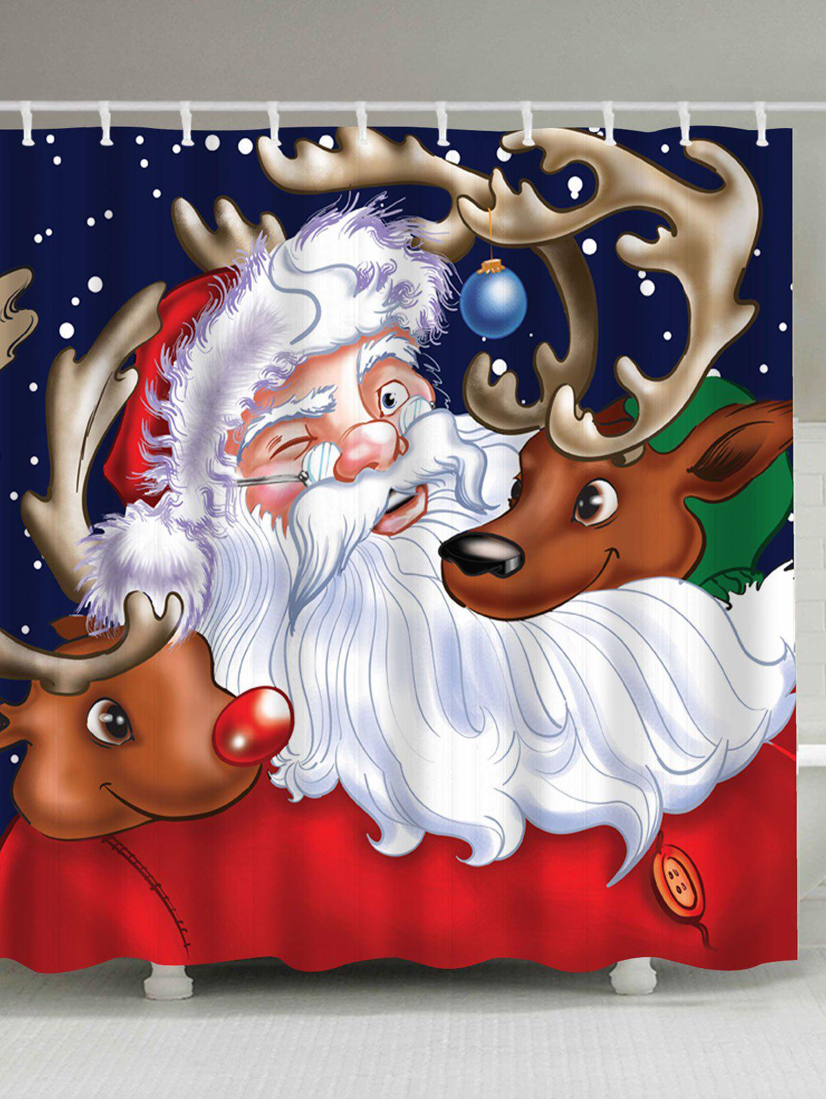 Santa Claus Reindeer Christmas Waterproof Bath Curtain