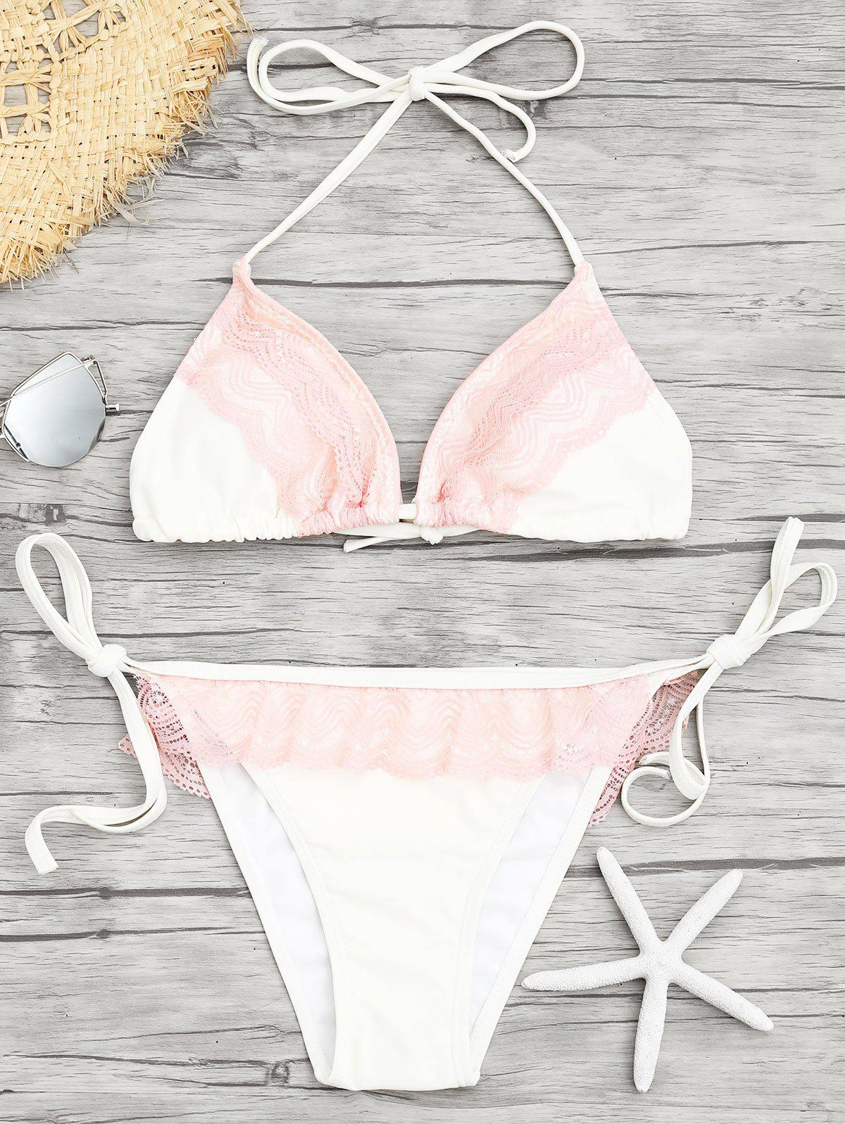 Lace Insert Low Waisted Bikini Set - WHITE L