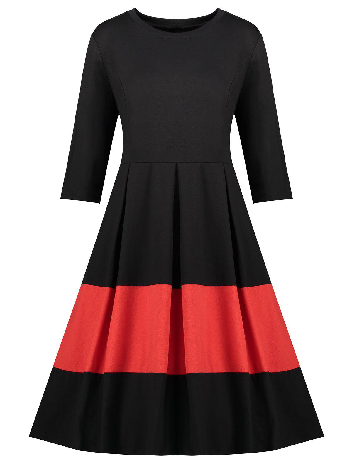 Plus Size Color Block Vintage Dress - BLACK 4XL
