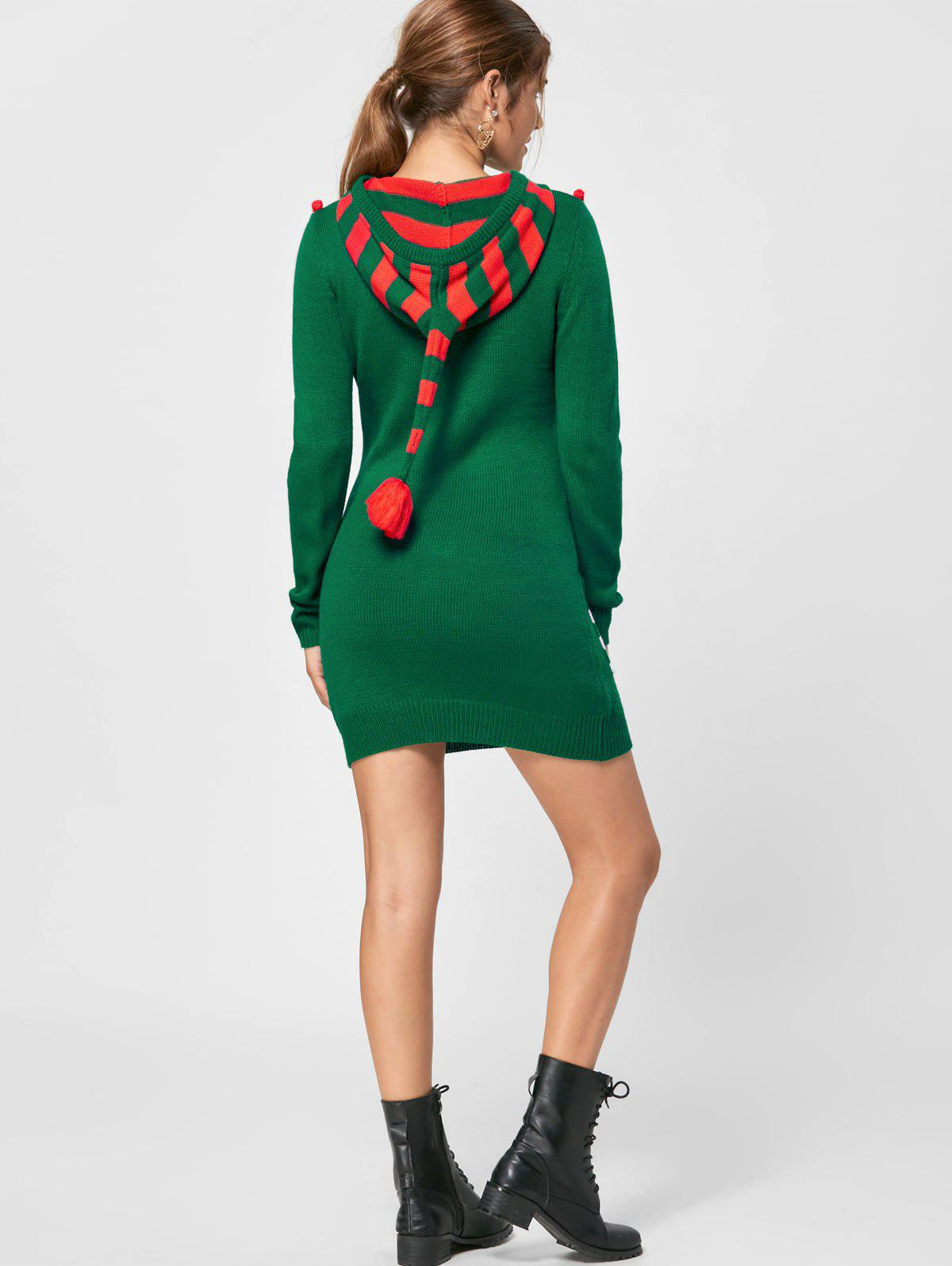 Christmas Drop Pockets Hooded Jumper Dress - GREEN L