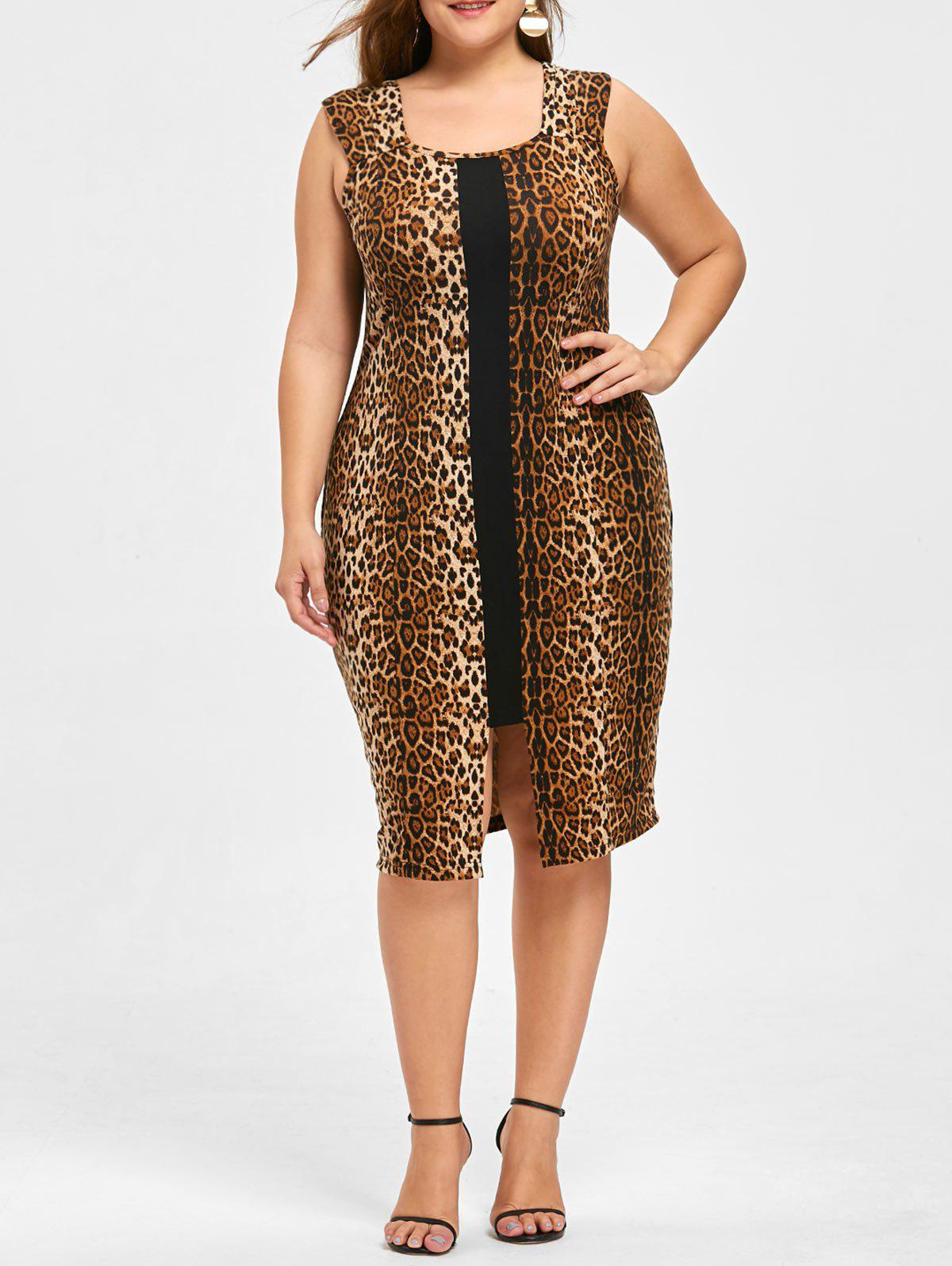 Plus Size Leopard Sleeveless Dress - BLACK LEOPARD PRINT 3XL