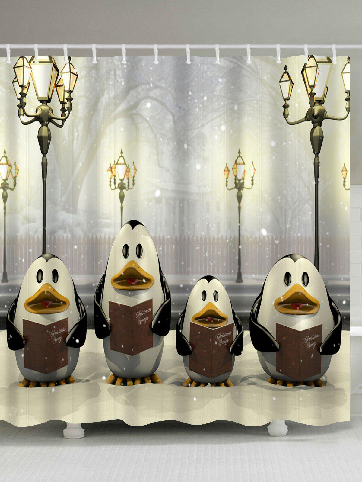 Penguin Christmas Street Lamp Waterproof Bath Curtain - LIGHT YELLOW W71 INCH * L79 INCH