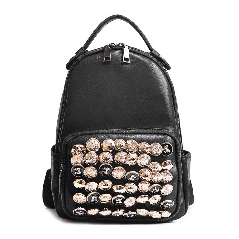 Two-way Zipper Studs Faux Leather Backpack - BLACK