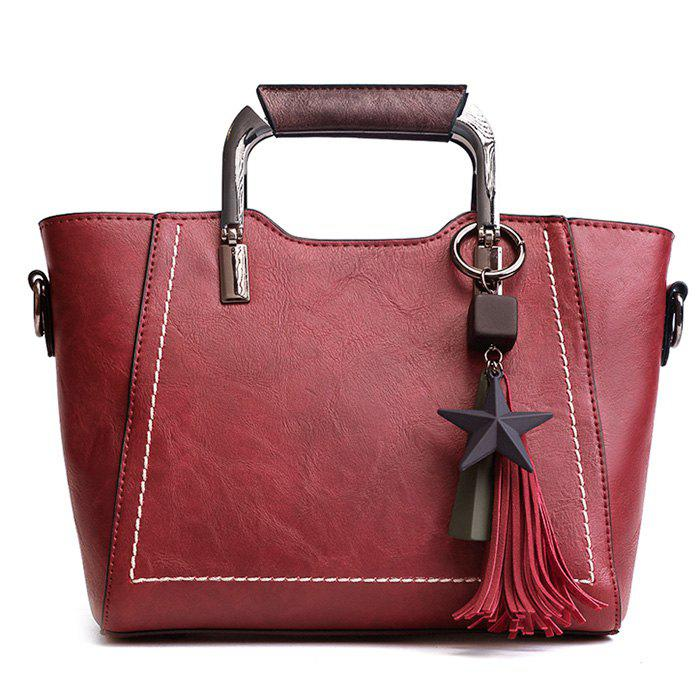 Top Zip Star Pendant Tassels Convertible Satchel - RED
