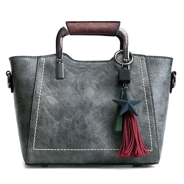 Top Zip Star Pendant Tassels Convertible Satchel - GRAY