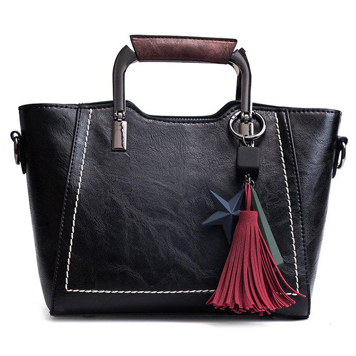 Top Zip Star Pendant Tassels Convertible Satchel - BLACK