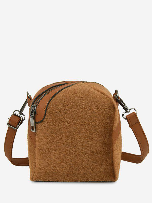 Zip Asymmetric Faux Suede Crossbody Bag - BRUN