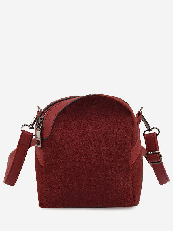 Zip Asymmetric Faux Suede Crossbody Bag - Rouge