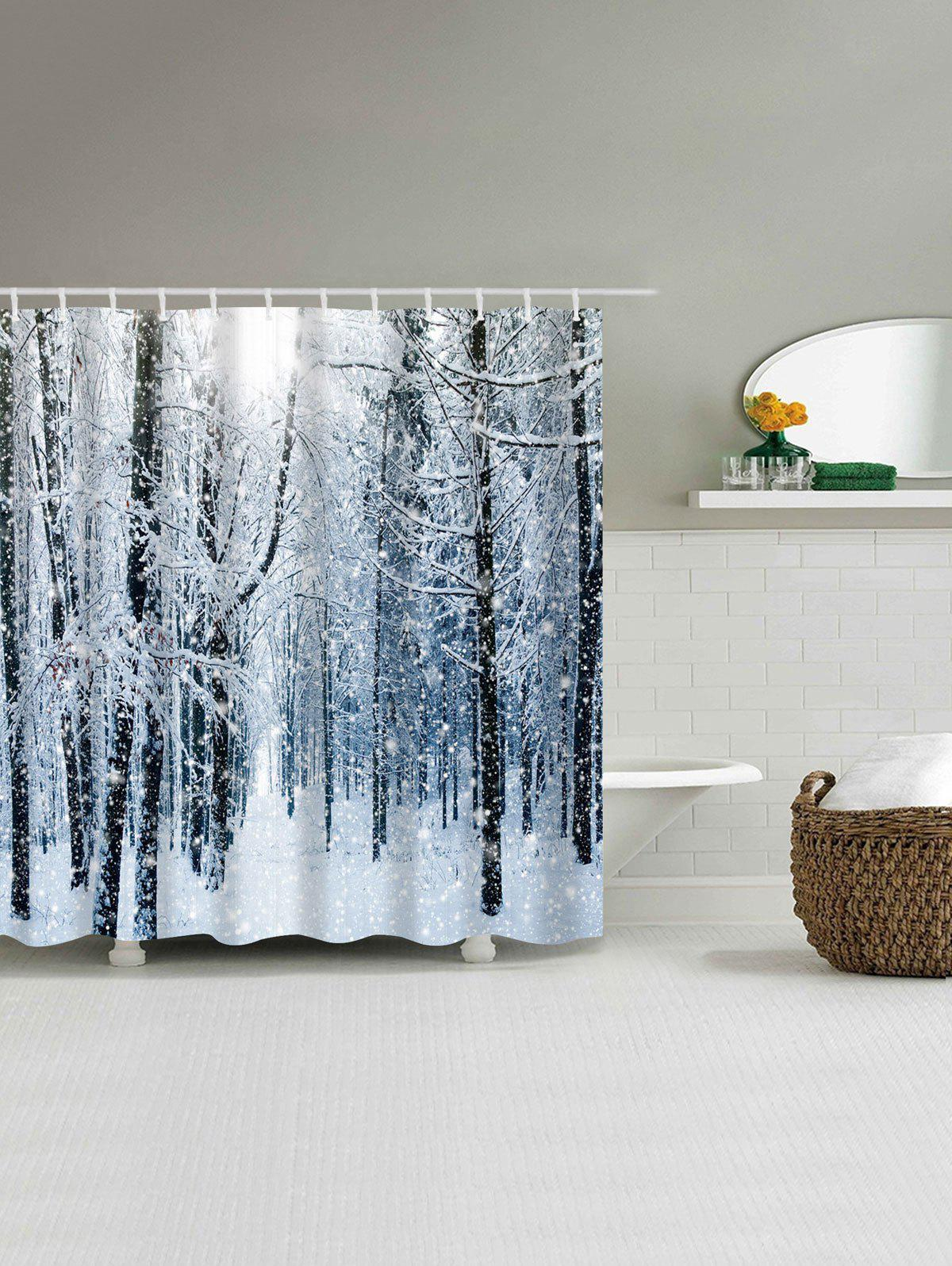Christmas Snow Forest Print Waterproof Bath Curtain - COLORMIX W71 INCH * L79 INCH