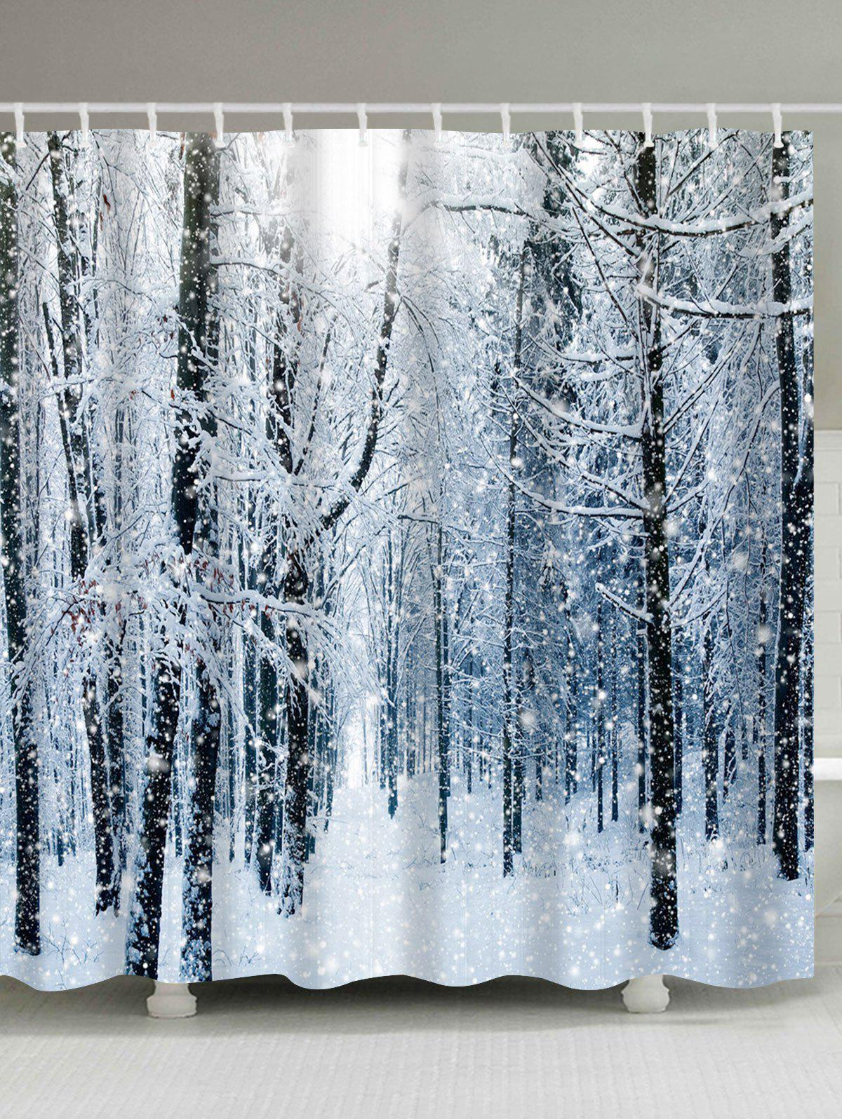 Christmas Snow Forest Print Waterproof Bath Curtain merry christmas printed bath waterproof shower curtain