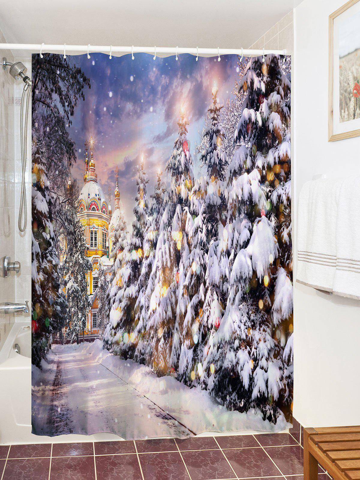 2018 Castle Christmas Tree Waterproof Bath Curtain Colormix W Inch L Inch In Shower Curtains