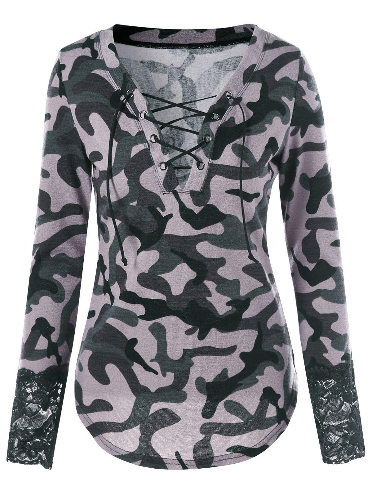 Lace Up Camouflage Lace Panel T-shirt zip up camouflage panel hoodie and sweatpants