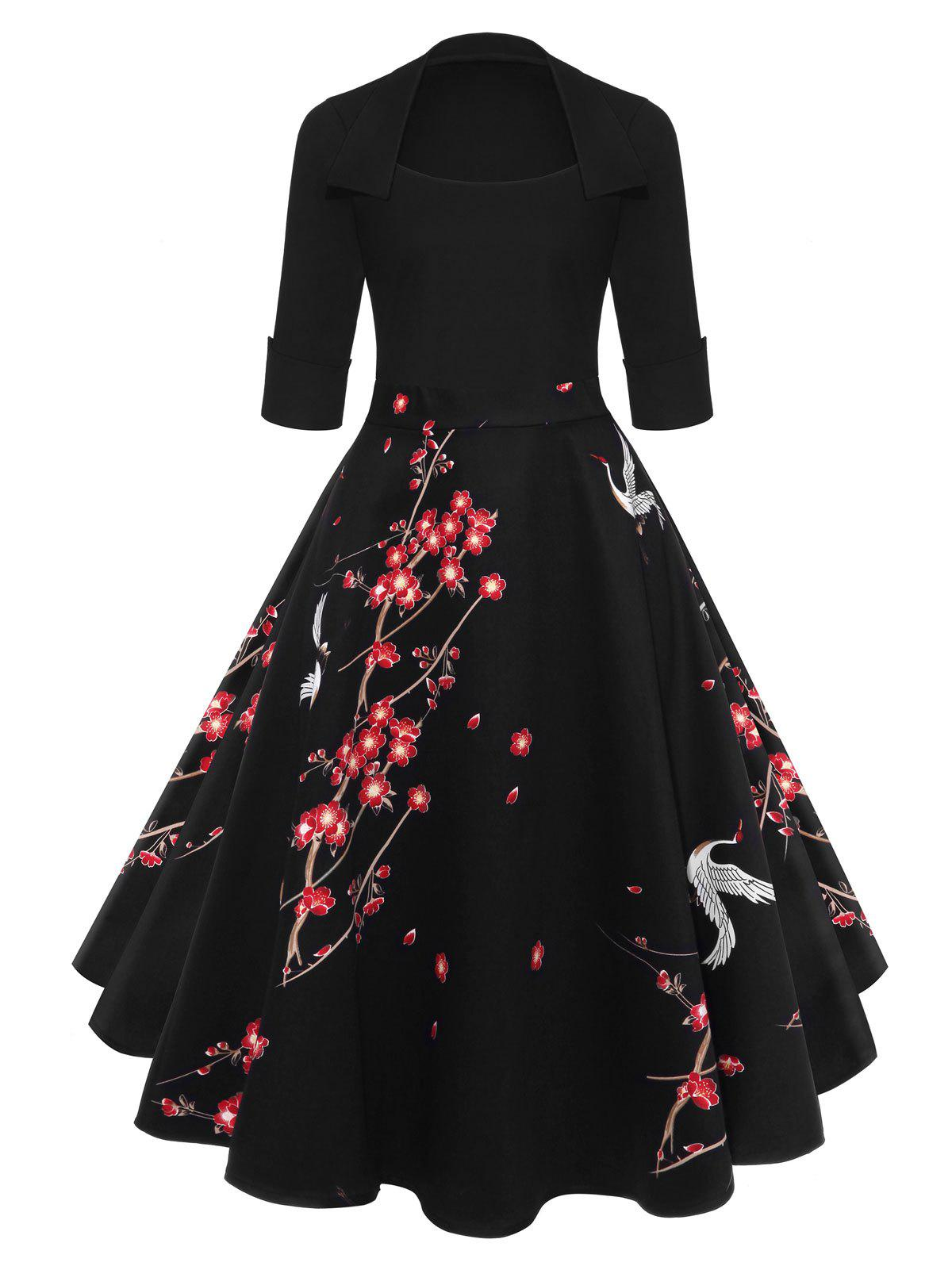 Blossom Printed Vintage Swing Dress - BLACK S