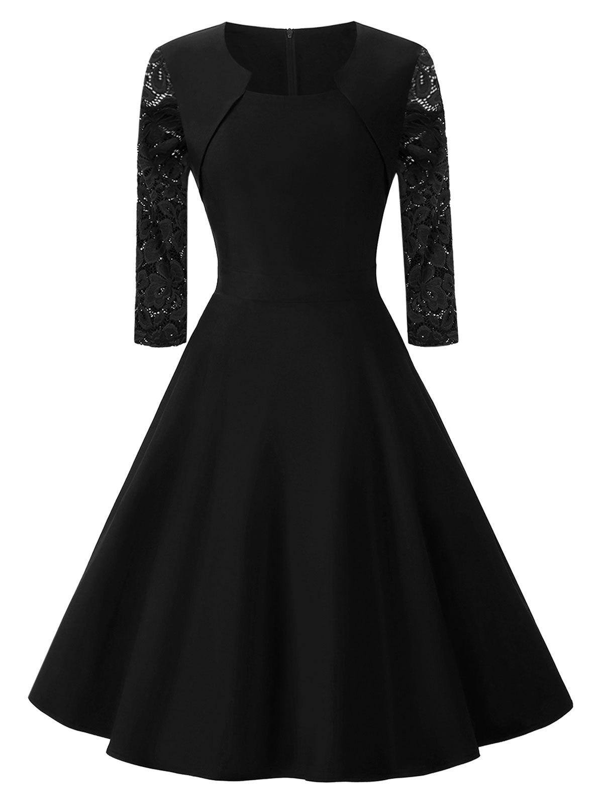 Lace Sleeve Vintage Fit and Flare Dress lace overlay fit and flare dress