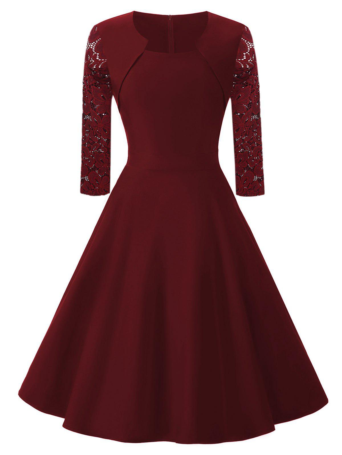 Lace  Sleeve Vintage Fit and Flare Dress lace splicing fit and flare dress
