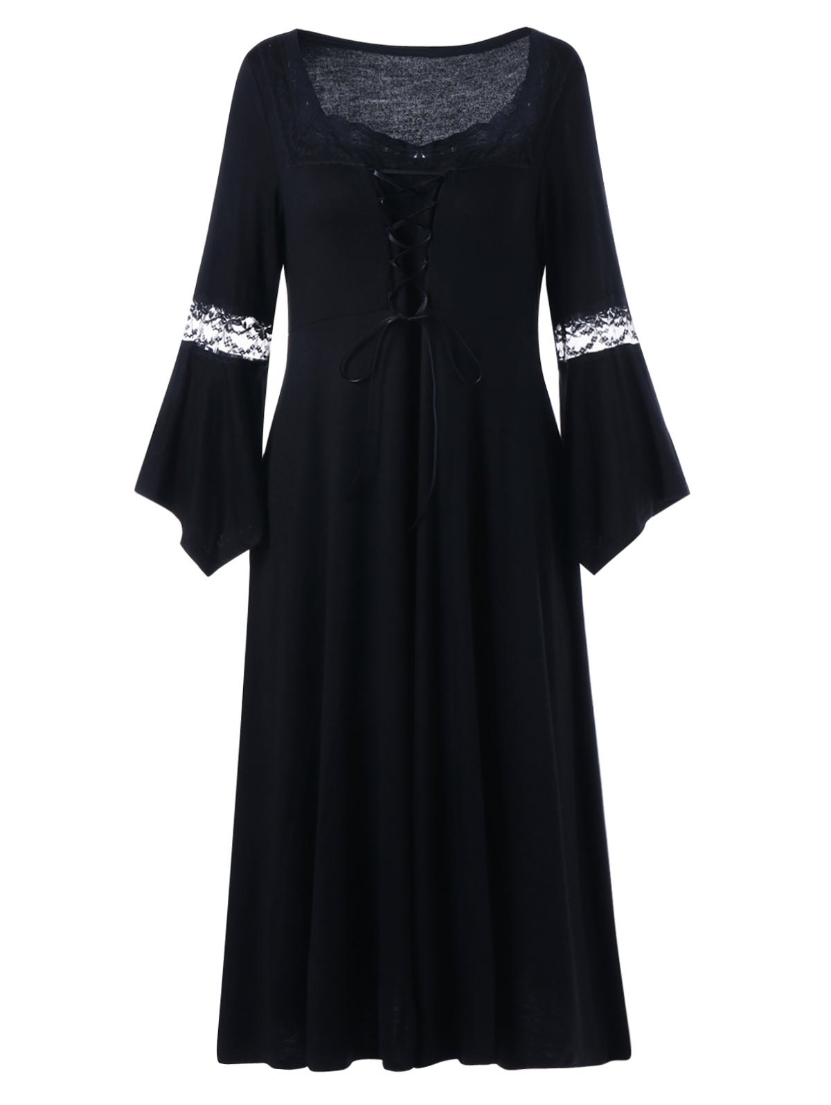 Plus Size Lace Up Bell Sleeve Dress - BLACK XL