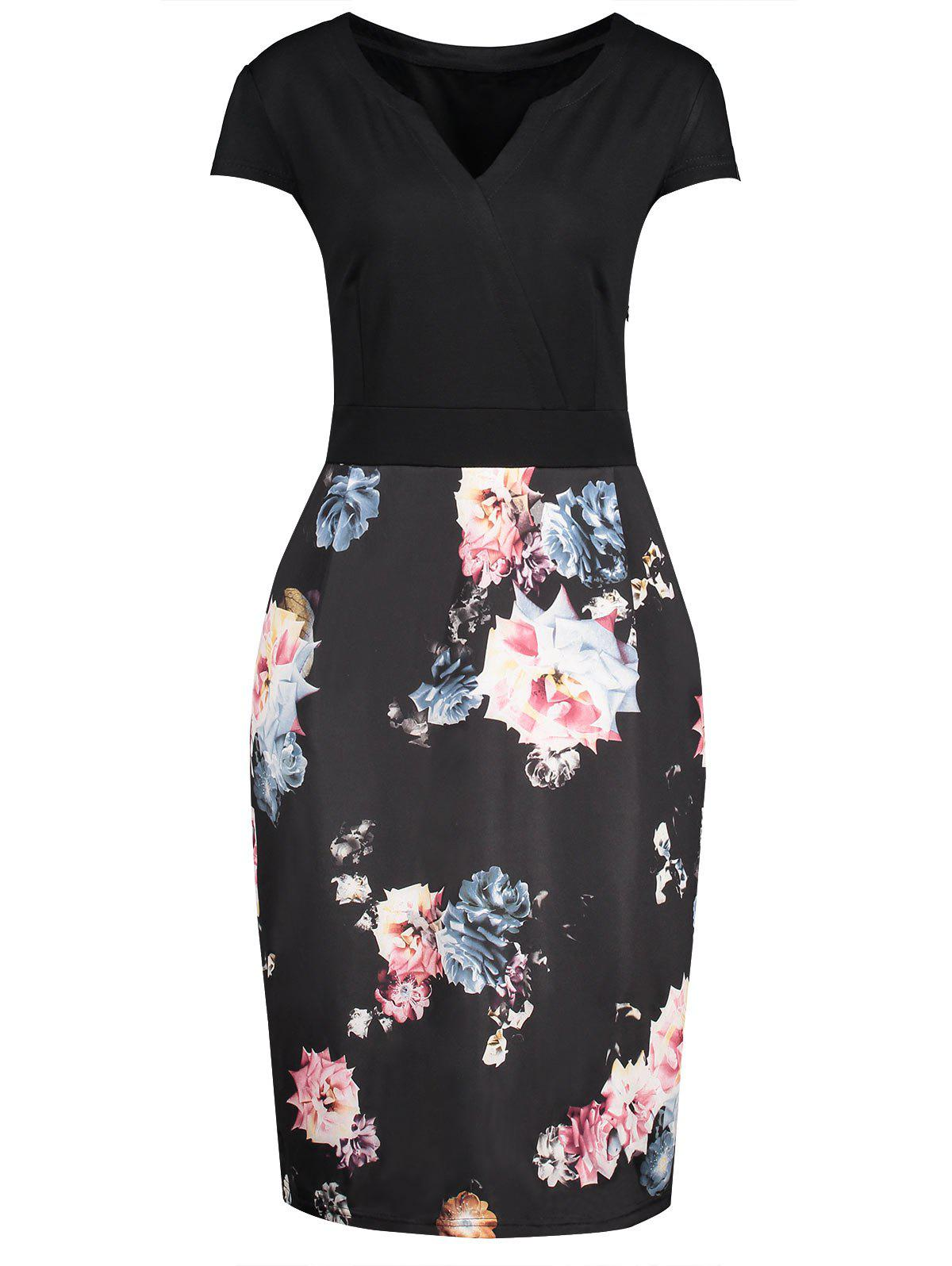 V Neck Floral Print Plus Size Bodycon Dress - BLACK 5XL