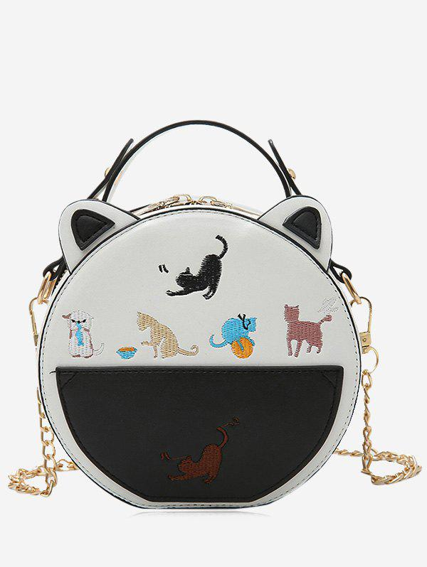 Cartoon Animal Embroiderey Mini Crossbody Bag - Blanc