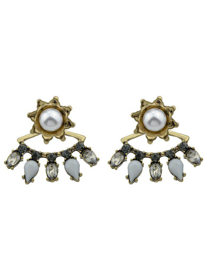 Artificial Pearl Floral Waterdrop Earrings - GOLDEN