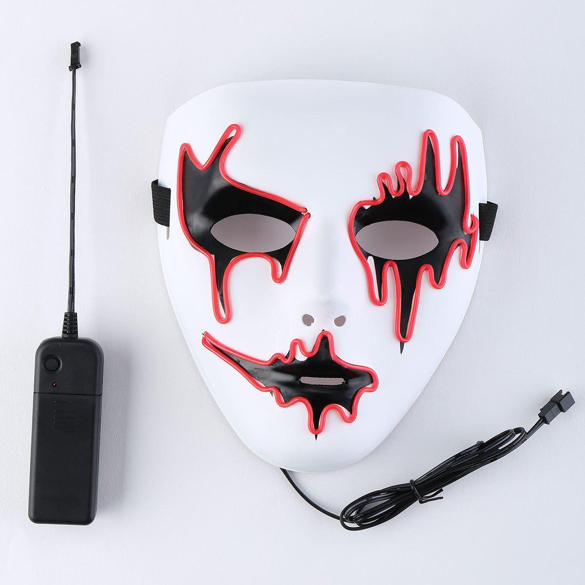 Halloween EL Wire LED Flashing Full Face Mask - RED