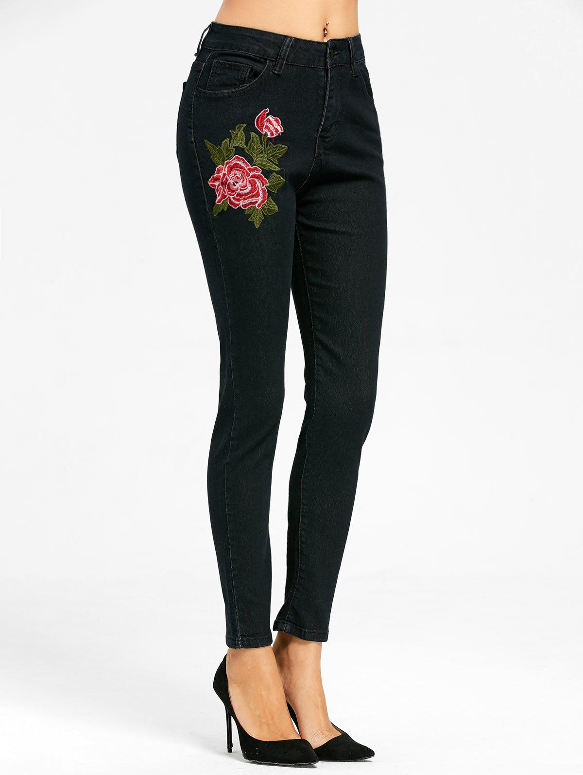 Floral Embroidered Zipper Fly Skinny Jeans - BLACK L