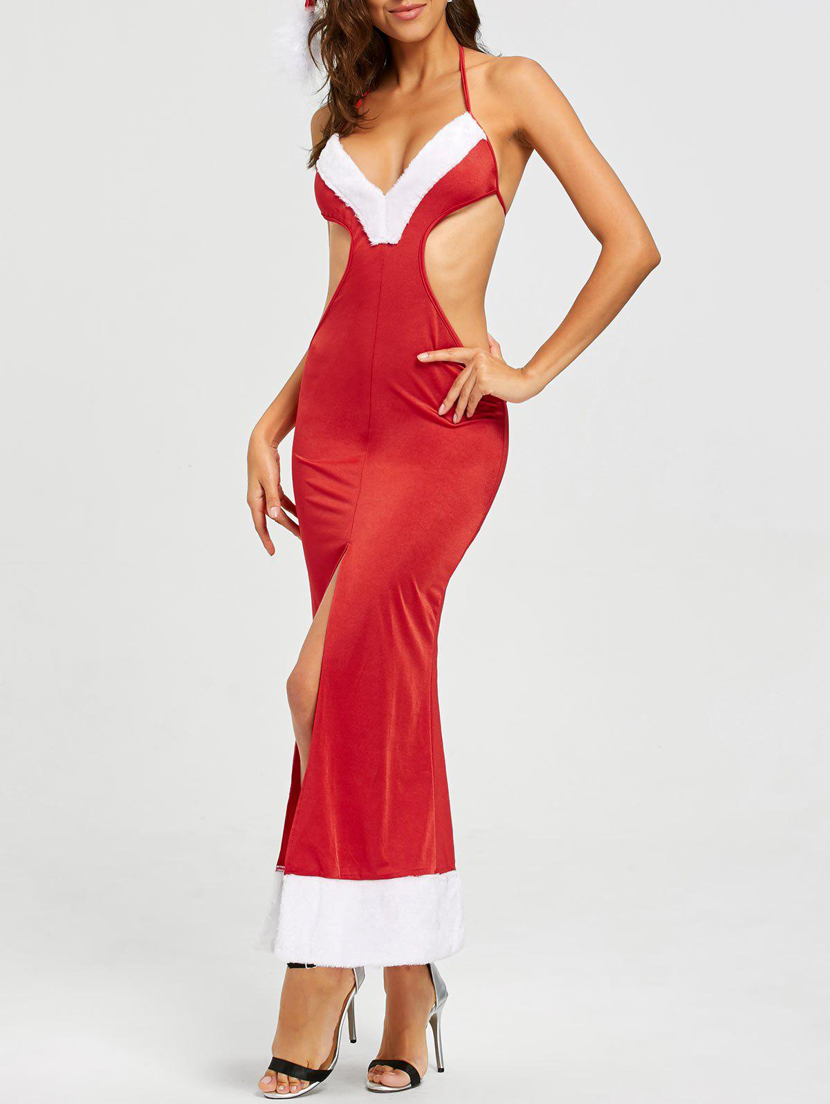 Slit Christmas Dress Costume - RED ONE SIZE