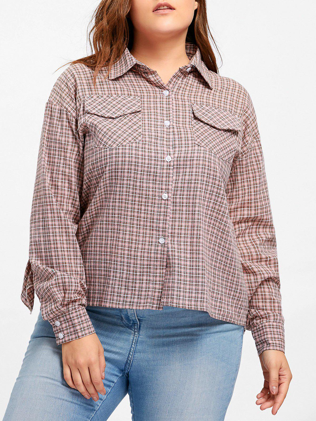 Plus Size High Low Plaid Ruffle Blouse - PINK 5XL